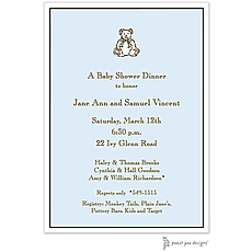 : Classic Edge White & Chocolate On Blue Invitation