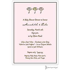 : Classic Edge White & Chocolate On Pink Invitation