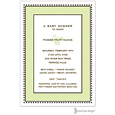 : Antique Bead Border Lime Invitation