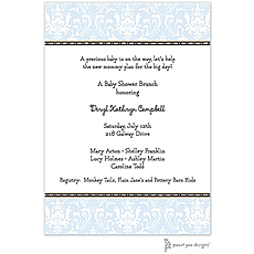 : Damask Blue Invitation