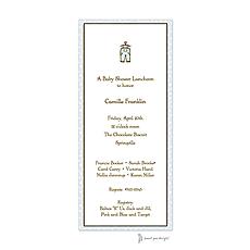 : Dotted Edge Blue & Chocolate Invitation