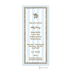 : Stripes & Lace Blue Invitation
