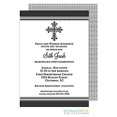 Victorian Cross Invitation - Edge Border -Black -