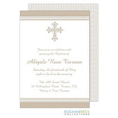 Victorian Cross Invitation - Edge Border - Pewter -
