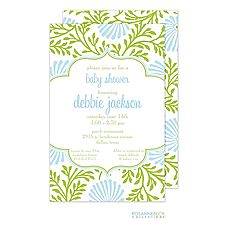 : Lime Floral Invitation - Blue