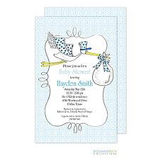 : Stork Invitation - Blue