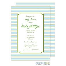 : Preppy Stripe Invitation - Blue