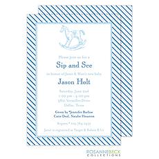 : Oxford Blue Stripe Invitation - Rocking Horse
