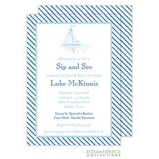 : Oxford Blue Stripe Invitation - Boat