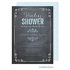: Chalkboard Baby Blue Invitation
