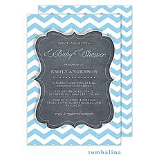 Chevron Chalkboard Baby Blue Invitation -