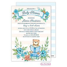 Book Baby Shower (Blue) Invitation -