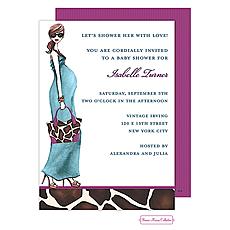 Fashionable Mom (Blue/Brunette) Invitation -