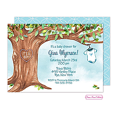 : Onesie Tree Blue Shower Invitation