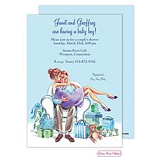 : Kisses For Baby (Blue/Brunette) Invitation
