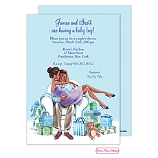 : Kisses For Baby (Blue/Multicultural) Invitation