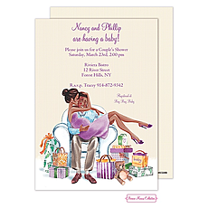 : Kisses For Baby (Yellow/Multicultural) Invitation