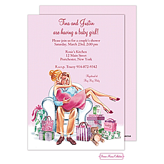 : Kisses For Baby (Pink/Blonde) Invitation