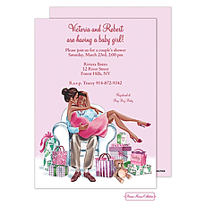 : Kisses For Baby (Pink/Multicultural) Invitation