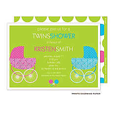 : Twin Buggies Shower Invitation