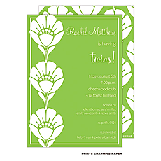 : Green Flower Twins Invitation