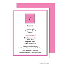 Diaper Pin Hot Pink Birth Announcement -