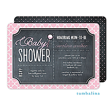 Rattle Baby Chalkboard Pink Invitation -