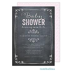 Chalkboard Baby Pink Invitation -