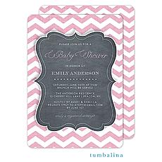 Chevron Chalkboard Baby Pink Invitation -