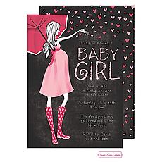 : Stylish Shower Chalkboard Pink Shower Invitation