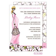 Fashionable Mom (Pink/Blonde) Invitation -