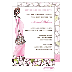 : Fashionable Mom (Pink/Brunette) Invitation