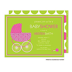 : Beautiful Baby Buggy Invitation