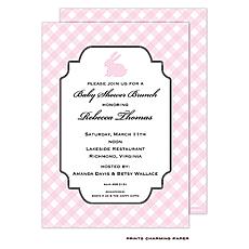 Pink Polka Dot Bunny Invitation -