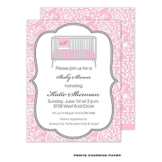 : White Floral Damask on Pink Sweet Petite Invitation