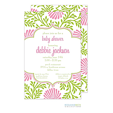 : Lime Floral Invitation - Pink