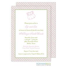 : Oxford Pink & Green Stripes Invitation - Dress