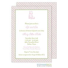 : Oxford Pink & Green Stripes Invitation - Bear