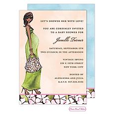 : Green Mom Multicultural Shower Invitation