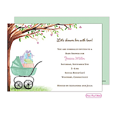 : Beautiful Bassinet (Green) Invitation