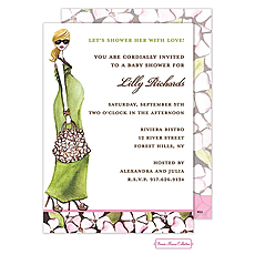 : Fashionable Mom (Green/Blonde) Invitation