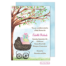 : Leopard Print Carriage Shower Invitation