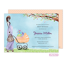 Strolling Mom Shower Invitation -