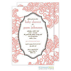 Woodcut Floral Invitation - Coral -