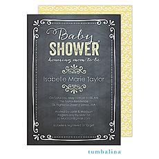 Chalkboard Baby Yellow Invitation -