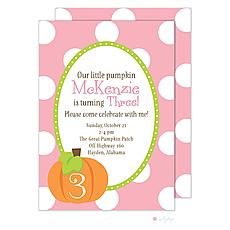 : Pumpkin Cutie Pink Invitation