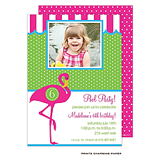 Pink Flamingo Party Photo Invitation -