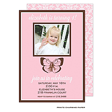 Birthday Butterfly Photo Invitation -