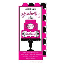 : Hot Pink Celebration Cake Invitation