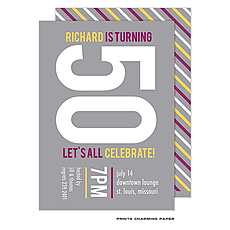 : Purple and Gold Diagonal Stripes on Grey Invitation